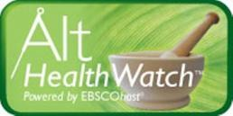 Alt HealthWatch powered by ESBCOhost logo, a white mortar and pestle on a green background