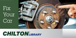 "Chilton Library logo of ""fix your car"" pictured with an automobile brake assembly"
