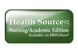 Green and white Health Source Nursing/Academic Edition, powered by EBSCOhost, logo