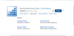 Screenshot of Business Source Premier database homepage