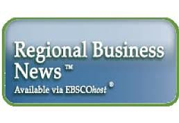 Regional Business News powered by EBSCOhost logo of white letters on blue background