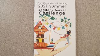 Decorative Tree House Cover of Perry Cook's 2021 Summer Maker Reading Challenge May packet