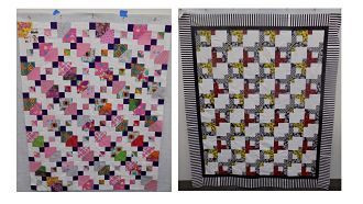 "Two handmade quilts using different configurations of 5"" squares"